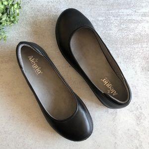 Alegria Petal Black Nappa Leather Ballet Flat 10.5